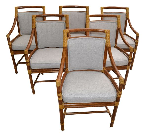 McGuire Mid-Century Modern Bamboo & Cane Armchair Dining Chair Leather - Set 6