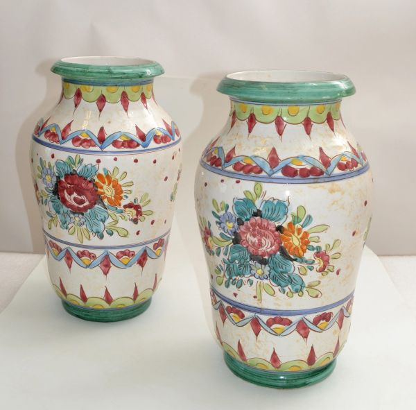 Marked Italy Pottery Hand Painted Ceramic Vases Mint Green Pottery Deruta - Two