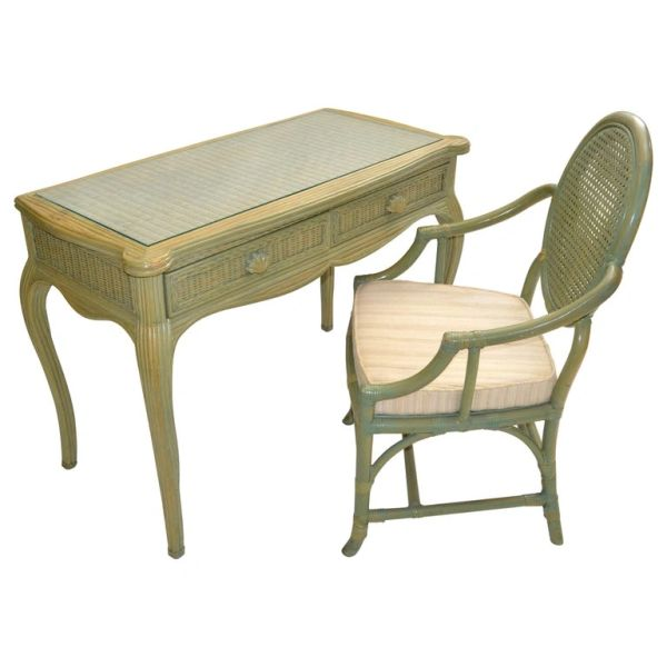 Hollywood Regency Whitecraft Desk, Vanity & Armchair Green Finish American 1970