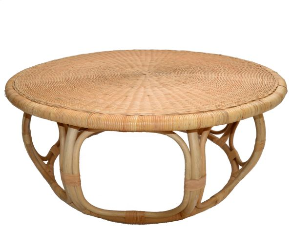 Organic Modern Round Handwoven Rattan / Wicker Coffee or Cocktail Table 1990