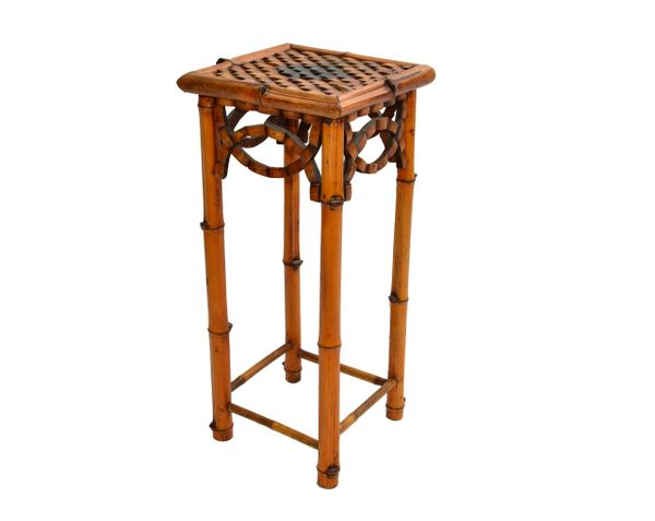 Bohemian Handcrafted Mid-Century Modern Bamboo & Rattan Side Table, Plant Stand