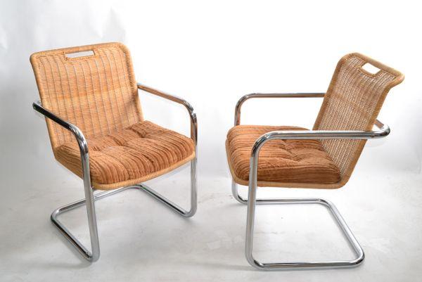 Pair Chromcraft Armchairs Brown Seat & Wicker Backrest Mid-Century Modern 1970
