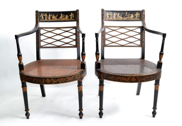 Asian Modern Antique Armchairs Black Lacquered & Gold Finish Cane Seat - Pair