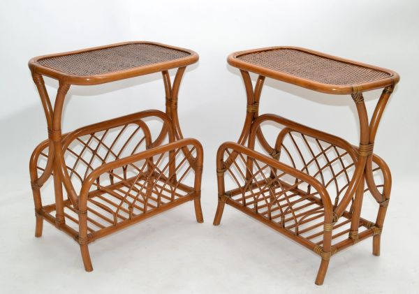 Marked Bamboo & Wicker Mid-Century Modern Side, Bedside Tables Night Stands Pair
