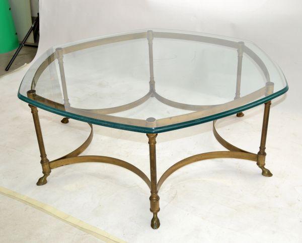 Hollywood Regency Labarge Hexagonal Bronze Beveled Glass Coffee Table Hoof Feet