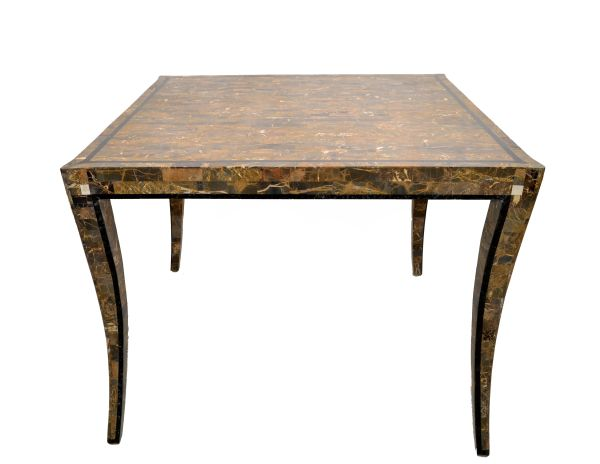 Maitland Smith Style Tessellated Stone Over Wood Square Game Table Curved Legs