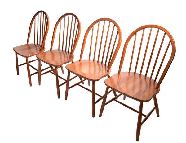 Scandinavian Modern Teak Spindle Back Dining Chairs Møbelfabrik Denmark - Set 4