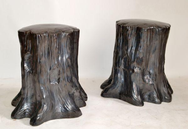 Hollywood Regency Style Outdoor Silver Ceramic Side Table Tree Stump Look - Pair