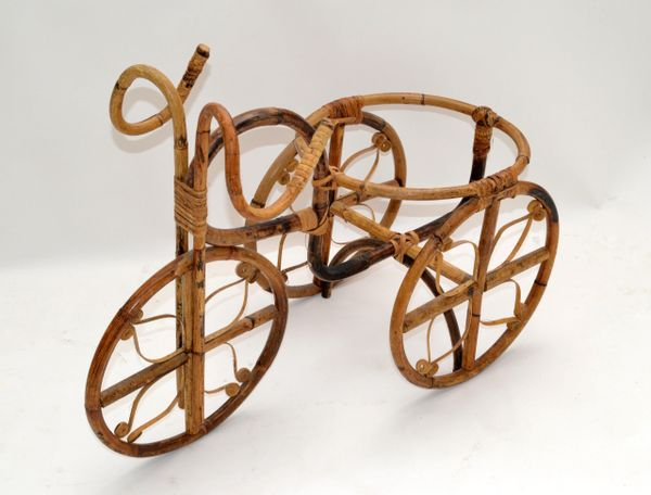 Vintage Tricycle Bohemian Chic Bamboo & Cane Handmade Decorative Plant Stand 70