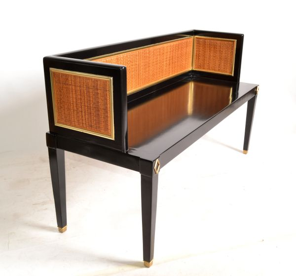Black Lacquered Wood, Brass & Cane Seating Bench Mid-Century Modern Asian Style