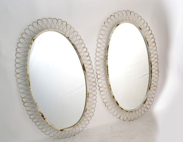 Pair of French Oval Wrought Iron Wall Mirror Antique White Distressed Look 1950