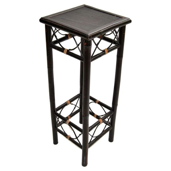Vintage Brighton Chinoiserie Rattan Bamboo Stand, Side or End Table, Column 1970