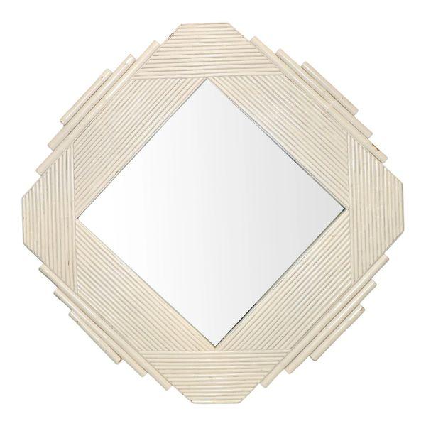 White Bamboo & Wood Geometric Wall Mirror Mid-Century Modern 1970