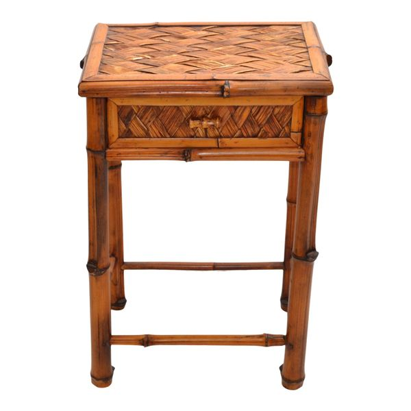 Bohemian Handcrafted Mid-Century Modern Bamboo & Rattan Side Table With Drawer