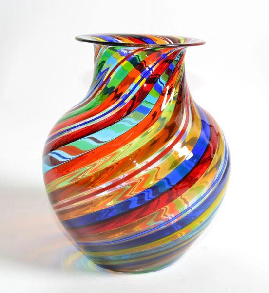 Vetro Artistico Murano Blown Glass Decorative Vase Colorful Swirls Italy 1970