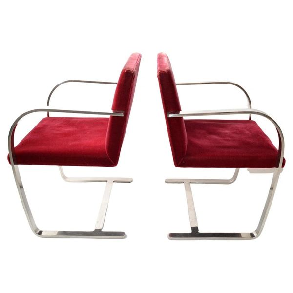 Mies Van Der Rohe For Knoll Stainless Steel Brno Chairs Red Velvet 1979, Pair