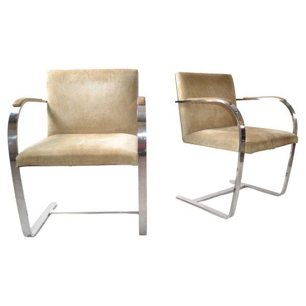 Mies Van Der Rohe for Knoll Beige Ultrasuede Stainless Steel Brno Chairs - Pair