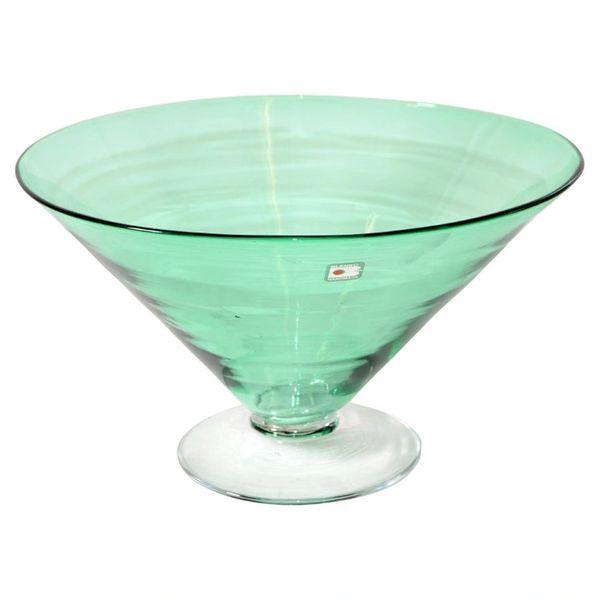 Original Blenko Mid-Century Modern Mint Green Art Glass Bowl, Centerpiece 1980