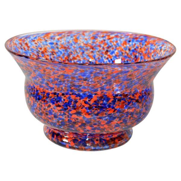 Venetian Murano Glass Bowl in Orange and Blue Sprinkles Italy 1970