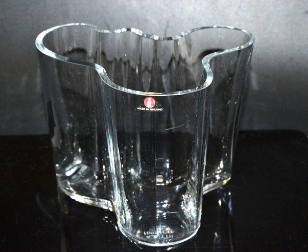 Iittala Alvar Aalto Clear Art Glass Sculptural Flower Savoy Vase Scandinavian