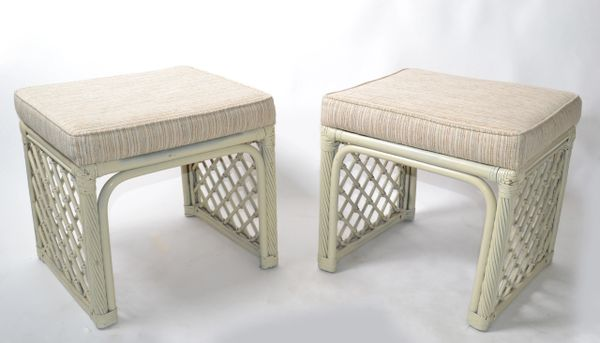 Pair of Vintage Vogue Rattan Olive Green Bamboo and Rattan Benches or Stools