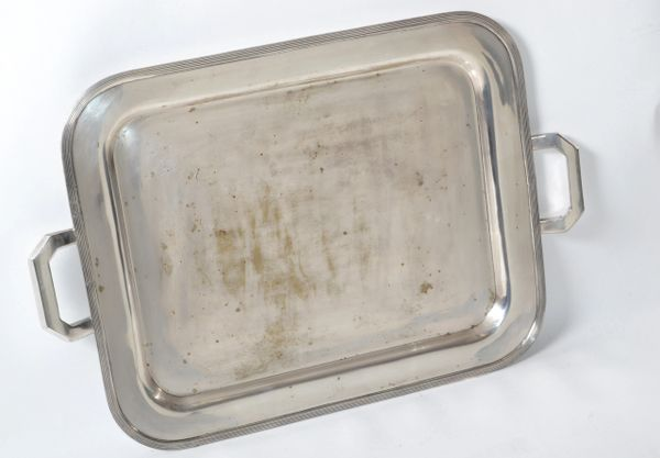 Old English Silver Plate Over Nickel Ornate Rectangular Serving Tray Handles