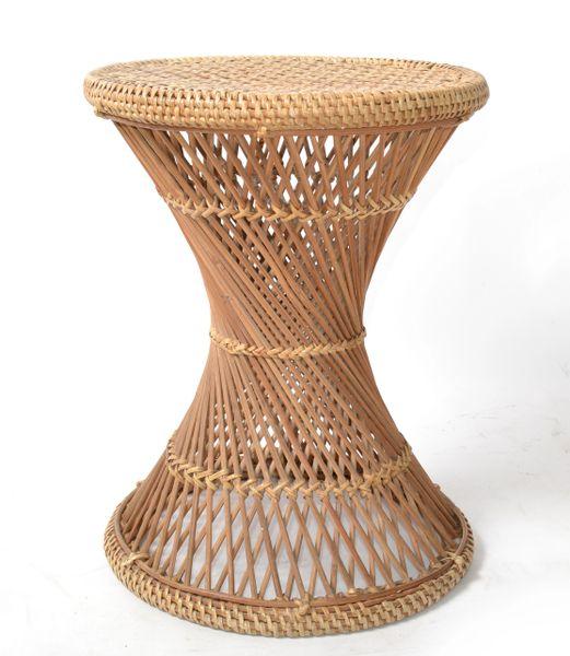 Vintage Bohemian Round Handwoven Rattan / Wicker Drum, Side, Drink Table Stool