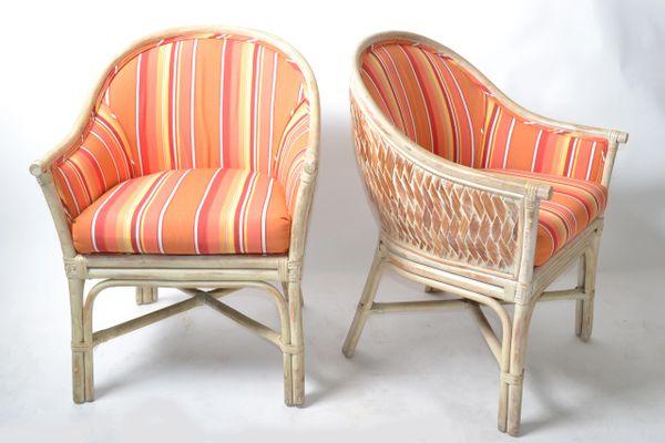 Pair - Mid-Century Modern Bamboo & Cane Armchair Orange Striped Upholstery 1970