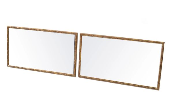 Pair of Hollywood Regency Gilt Faux Bamboo Wall Mirror