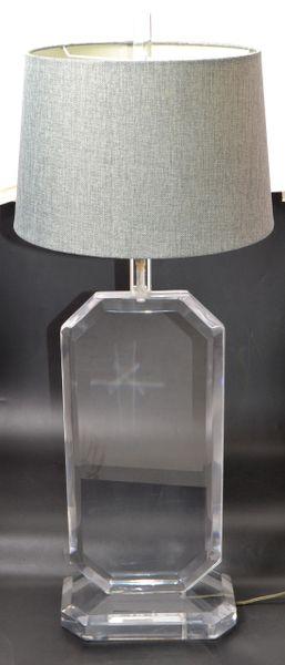 Massive Mid-Century Modern Flat Beveled Lucite Table Lamp