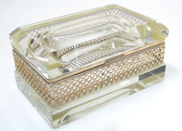 Art Deco Italian Murano Glass & 24k Gold Plate Jewelry Case Mandruzzato Style