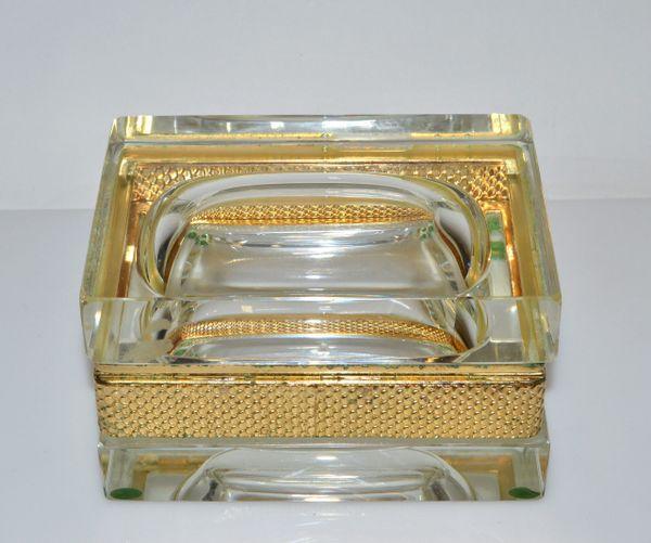 Italian Murano Glass & 24k Gold Plate Jewelry Case Art Deco Mandruzzato Style
