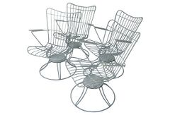 Mid-Century Swivel Patio Chairs - Set of 4