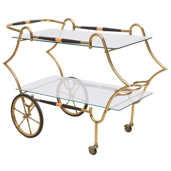 Brass and Glass 1950s Trolley Server Italy