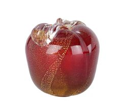 Hand-Blown Murano Glass Apple Gold Inlay