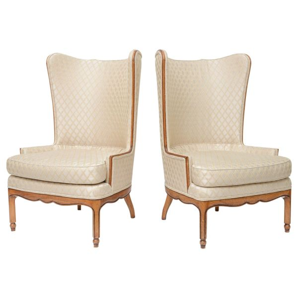 Grosfeld Style High Back Wing Tip Club Chairs