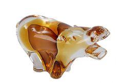 Amber Murano Glass Hippo