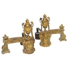 Louis XV Gilt Bronze Andirons - a Pair