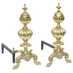Over-sized Georgian-Style Andirons - a Pair