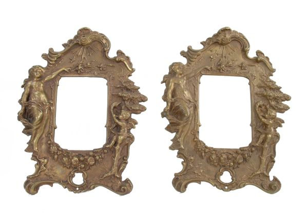 Art Nouveau Pair of 1950s Bronze Picture Frames with Angel Motifs