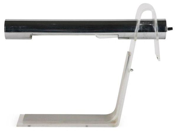 Vintage Italian Tubular Chrome Lucite Table Desk Lamp Mid Century Modern