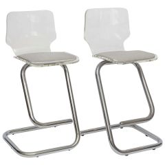 2 Chrome & Lucite Counter Stools Hollywood Regency from Italy