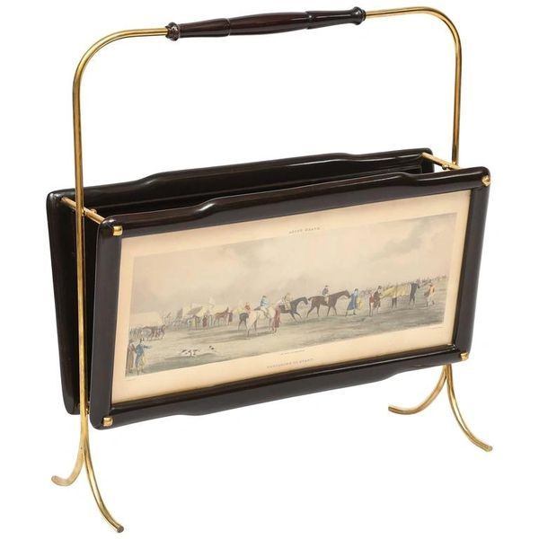 Italian Magazine Rack with two Henry Alken Engravings