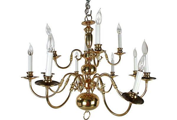 Massive Brass Chandelier w/Canopy