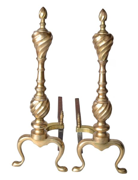 Pair of Solid Brass Andirons