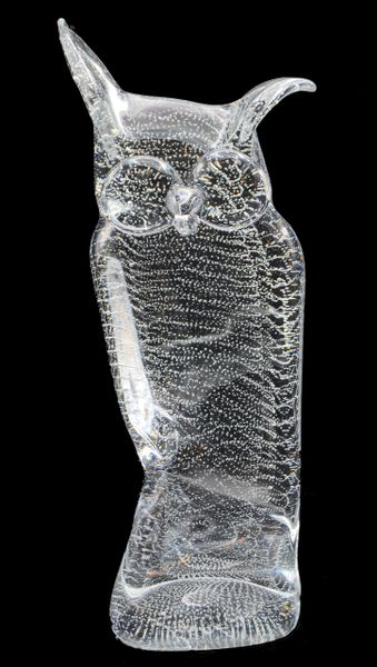 Licio Zanetti Murano Glass Owl with Bubbles