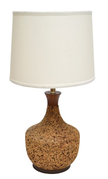 Scandinavian Modern 1960s Cork and Teak Table Lamp