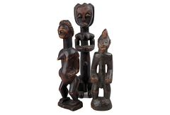 Set of 3 Hand Carved Figures from Gabon