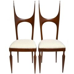 Pozzi and Verga Sculptural Wooden Chairs, Italy, 1950, a Pair.