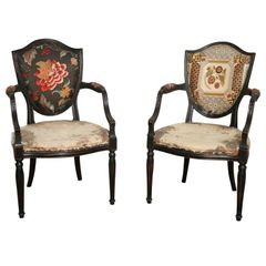 Pair of Neoclassical Elegant Wooden Armchairs